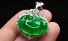 色泽艳丽天然缅甸A货威廉希尔老坑玻璃种满绿玉石如意挂件