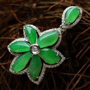 天然缅甸A货翡翠老坑冰玻璃种满绿花开富贵挂件