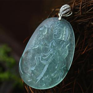 清澈见底天然缅甸A货翡翠冰玻璃种观音菩萨挂件