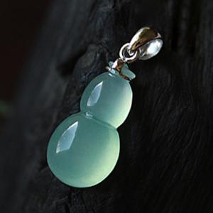 冰清若雪天然缅甸A货翡翠老坑玻璃种葫芦挂件18K金镶嵌