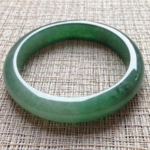 素净淡雅天然缅甸A货翡翠老坑冰糯种满绿手镯55.1mm