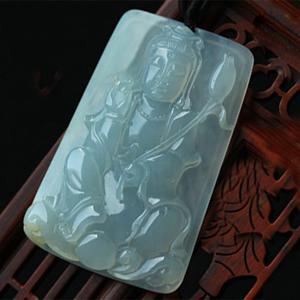 粉白黛绿天然缅甸A货翡翠糯冰种观音挂件