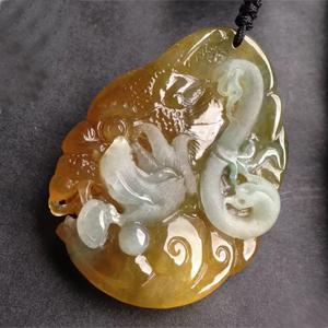 琉璃素轩天然缅甸A货翡翠老坑冰种黄翡兽头挂件——万寿无疆