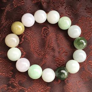 水灵秀气天然缅甸A货翡翠老坑圆珠手链