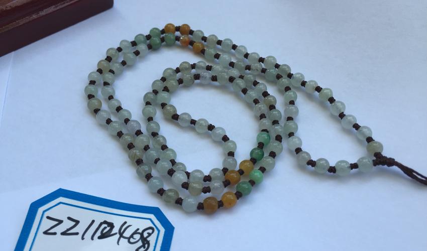 光彩夺目天然缅甸A货威廉希尔老坑冰糯种三彩珠子项链