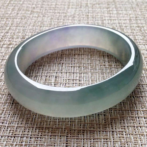 眠花卧柳天然缅甸A货翡翠老坑冰种紫底贵妃镯57mm