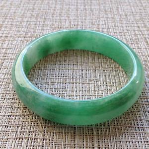 如梦佳期天然缅甸A货翡翠老坑冰糯种满绿手镯57.9mm