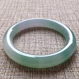 年华似水天然缅甸A货翡翠老坑冰种晴水绿圆条镯57mm