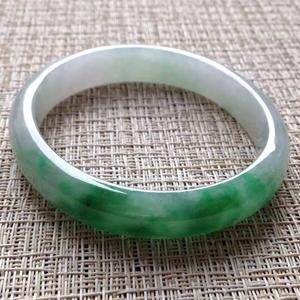 纯粹温暖天然缅甸A货翡翠老坑冰糯种飘阳绿贵妃镯56 mm
