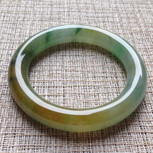 青山绿水天然缅甸A货翡翠老坑冰种黄翡飘花手镯54mm