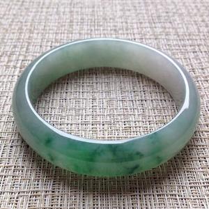 雾色青胧天然缅甸A货翡翠老坑冰种飘花手镯56.6mm