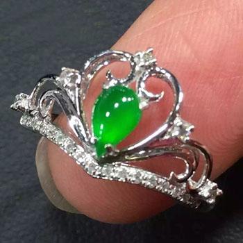 优雅闲适天然缅甸A货翡翠老坑冰种满绿皇冠戒指-女款