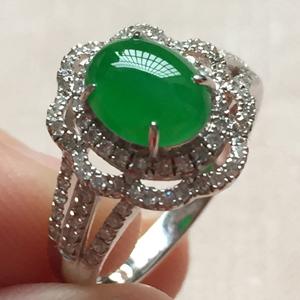 清浅安暖天然缅甸A货翡翠老坑冰种满绿戒指挂件
