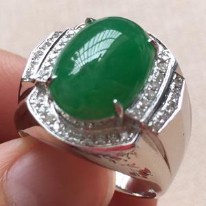 清风唤雨天然缅甸A货翡翠老坑冰种满绿戒指