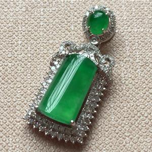 五彩斑斓天然缅甸A货翡翠老坑冰种满绿镶嵌挂件