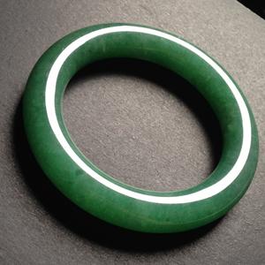 红尘陌上天然缅甸A货翡翠老坑糯种满绿圆条手镯56MM