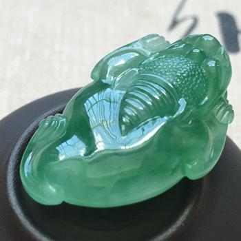 清歌缱绻天然缅甸翡翠A货老坑冰种满绿三角蟾蜍挂件