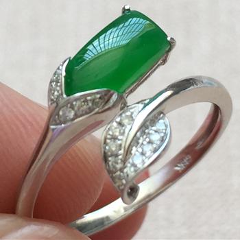 美若天仙天然缅甸A货翡翠老坑冰种满绿戒指挂件女款