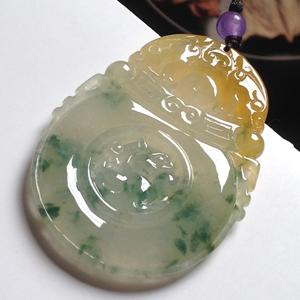 色白花青天然缅甸A货翡翠老坑冰糯种黄加绿麒麟牌挂件