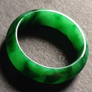 翰墨流香天然缅甸A货翡翠老坑糯种绿指环挂件
