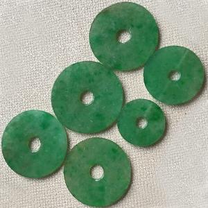 含情脉脉天然缅甸翡翠A货老坑糯种满绿平安扣挂件一手6件
