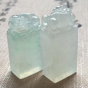 禅定修心天然缅甸A货翡翠老坑冰种貔貅印章