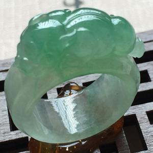 掩映生姿天然缅甸翡翠A货老坑冰种貔貅戒指指环