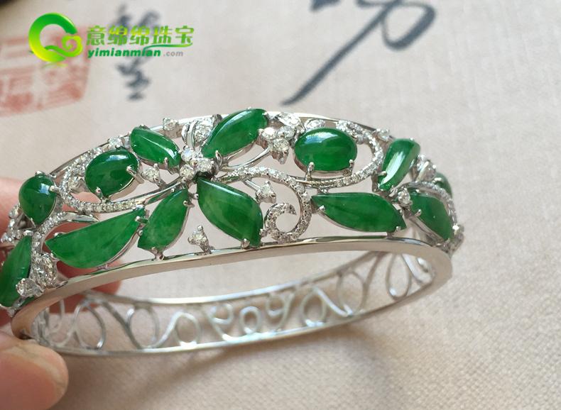 垂柳依依天然缅甸A货翡翠老坑满绿手环挂件