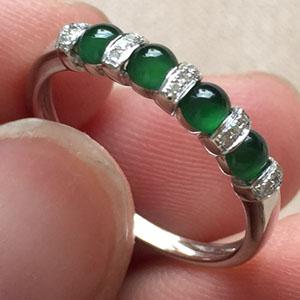泰然处之天然缅甸翡翠A货老坑冰种满绿戒指挂件