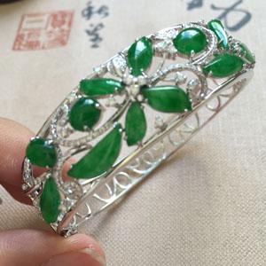 垂柳依依天然緬甸A貨翡翠老坑滿綠手環掛件