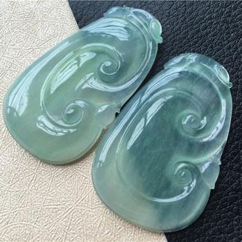 肤如凝脂天然缅甸翡翠A货老坑冰种如意情侣对佩挂件