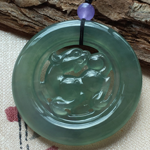 神仙玉骨天然缅甸翡翠A货老坑冰种晴水麒麟挂件