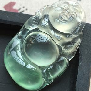 明眸善睐天然缅甸翡翠A货老坑玻璃种飘绿佛公挂件