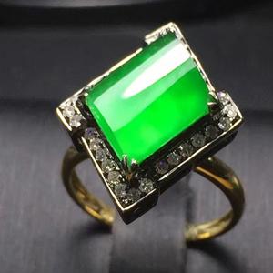 玉树琼枝天然缅甸翡翠A货老坑冰种辣绿戒指挂件