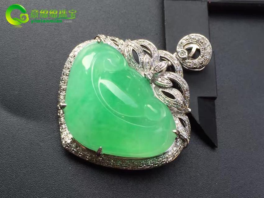 清新靓丽天然缅甸A货翡翠老坑冰种苹果绿如意镶嵌挂件