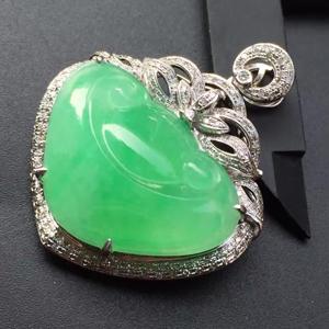 清新靓丽天然缅甸A货威廉希尔老坑冰种苹果绿如意镶嵌挂件