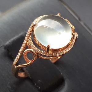 窈窕无双天然缅甸A货翡翠老坑高冰种蛋面戒指镶嵌挂件女款