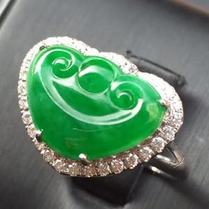 气质灵秀天然缅甸翡翠A货老坑冰种阳绿如意头戒指