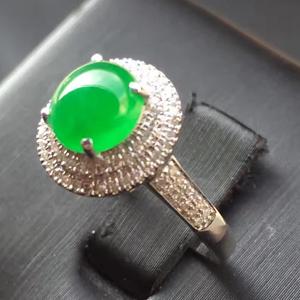 翩若惊鸿天然缅甸翡翠A货老坑冰种阳绿戒指挂件