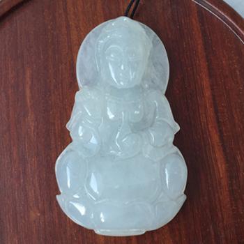 缅甸老坑天然冰糯种龙8国际|appa货观音挂件