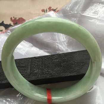 攀花折柳天然缅甸翡翠A货老坑糯种浅绿手镯55.5mm