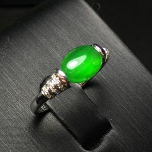 优雅大方天然缅甸翡翠A货老坑冰种满绿戒指