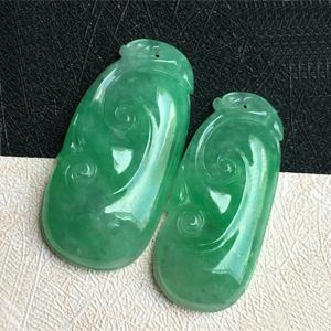 嫵媚動天然緬甸A貨翡翠老坑冰糯種滿綠如意情侶對佩掛件