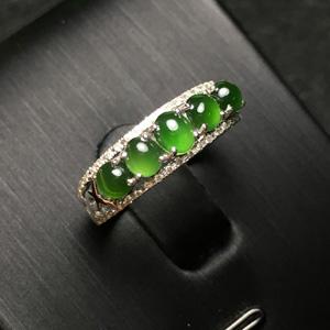 青梅柳梦天然缅甸翡翠A货老坑冰种满绿蛋面戒指
