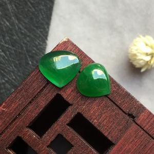 冰糯种满绿天然缅甸A货翡翠老坑水滴戒面(一对)