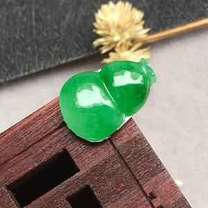 冰糯種滿綠天然緬甸A貨翡翠老坑葫蘆戒面