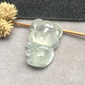 冰种无色天然缅甸A货翡翠老坑考拉挂件