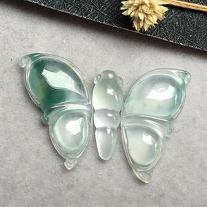 冰种飘花天然缅甸A货翡翠老坑蝴蝶