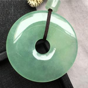 冰種淺綠天然緬甸A貨翡翠老坑平安扣掛件