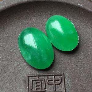 冰种满绿天然缅甸翡翠A货老坑蛋面戒面裸石